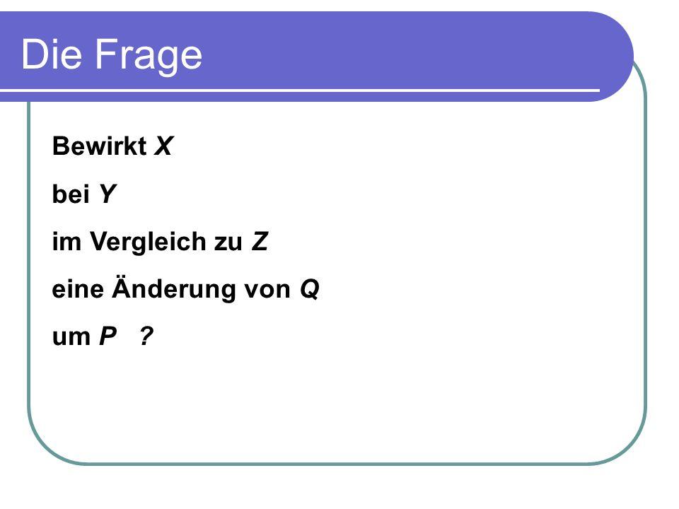 Die Frage Bewirkt X bei Y im Vergleich zu Z eine Änderung von Q um P