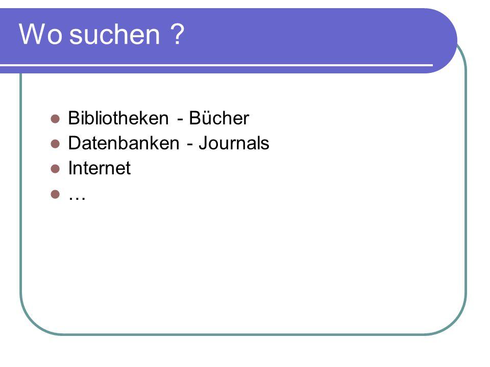 Wo suchen Bibliotheken - Bücher Datenbanken - Journals Internet …