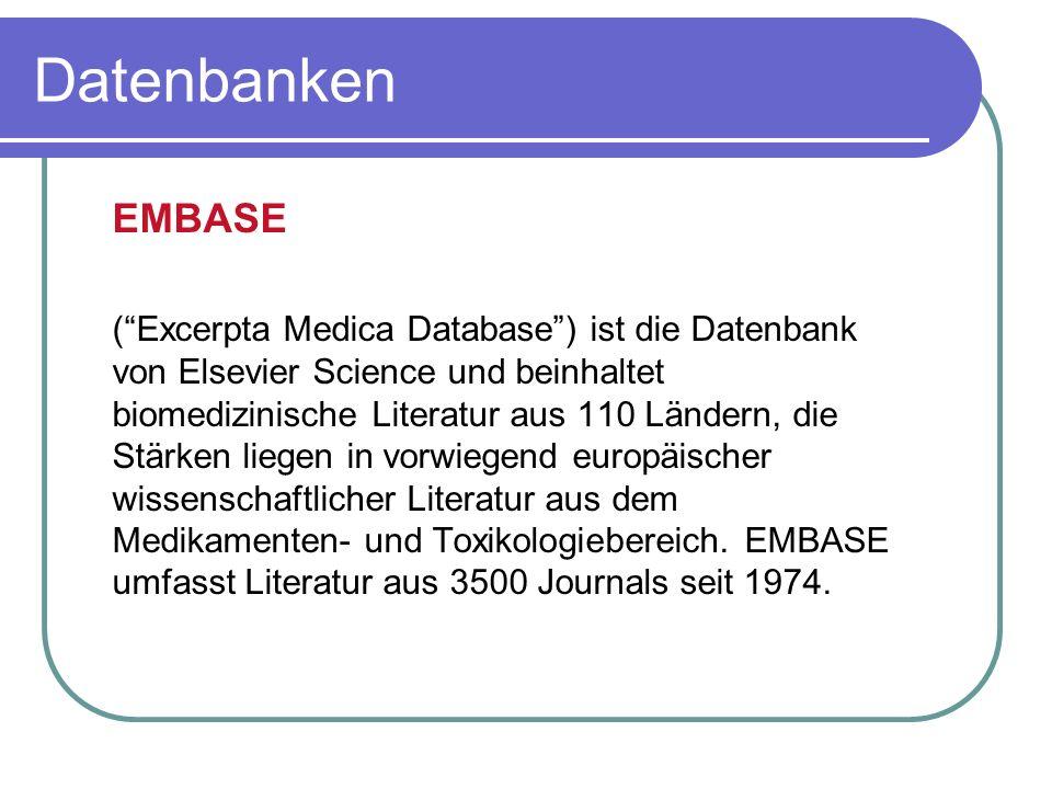 Datenbanken EMBASE.