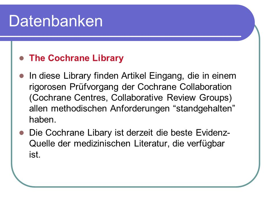 Datenbanken The Cochrane Library