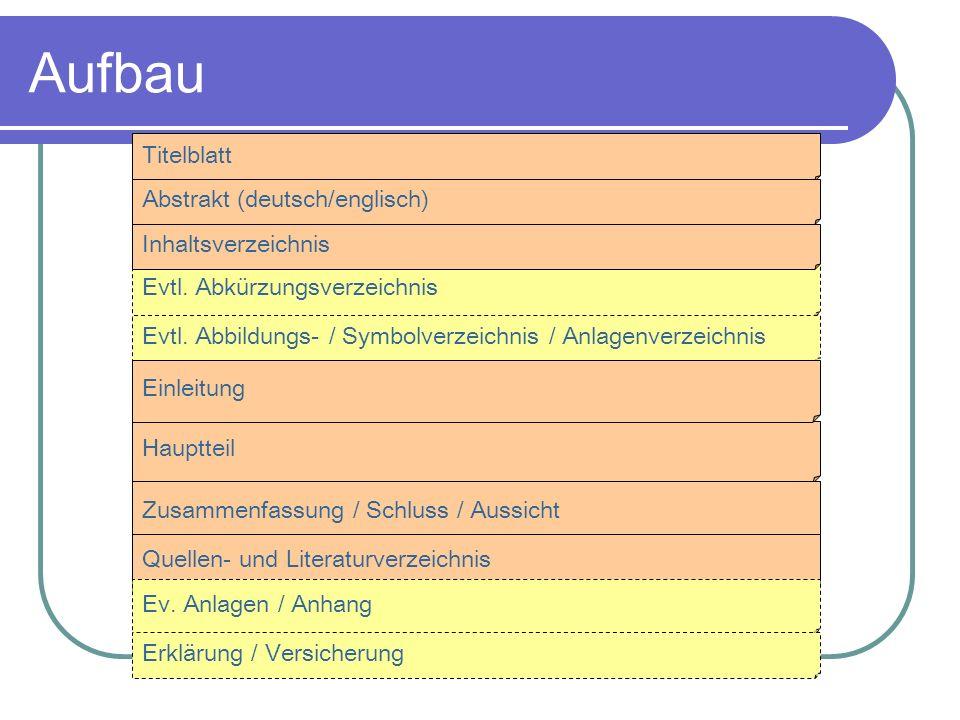 Aufbau Titelblatt Abstrakt (deutsch/englisch) Inhaltsverzeichnis