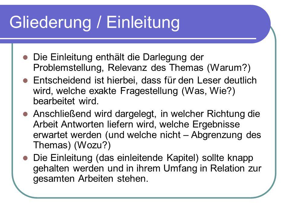 Gliederung / Einleitung