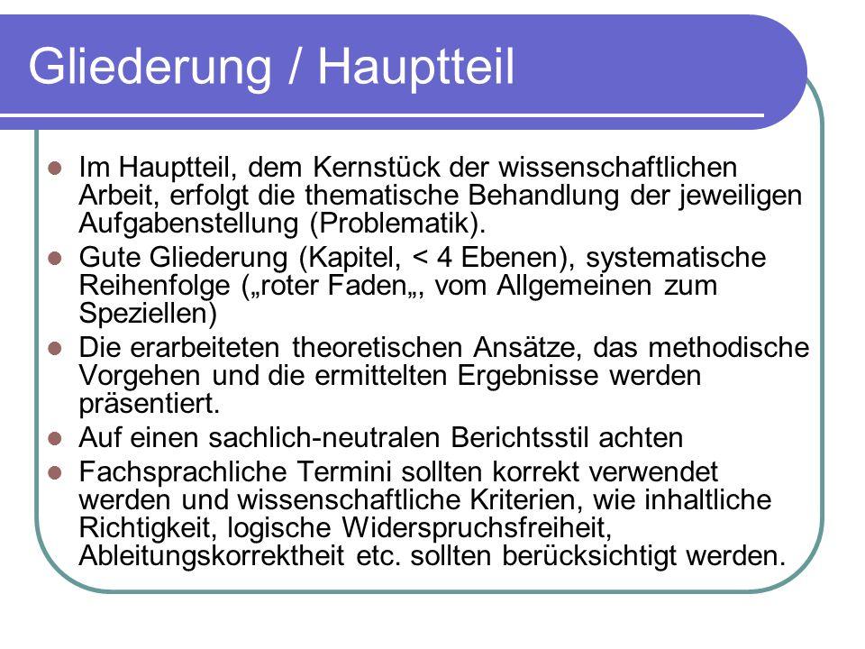 Gliederung / Hauptteil
