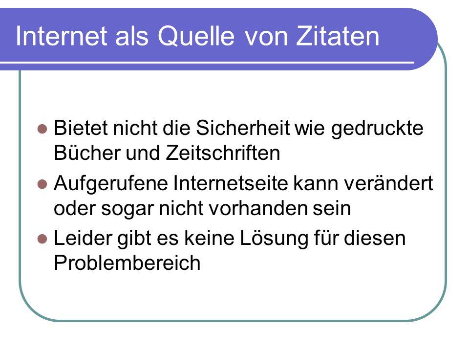 Internet als Quelle von Zitaten