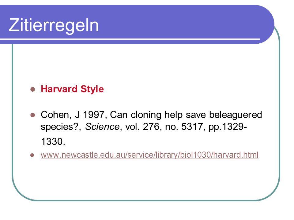 Zitierregeln Harvard Style