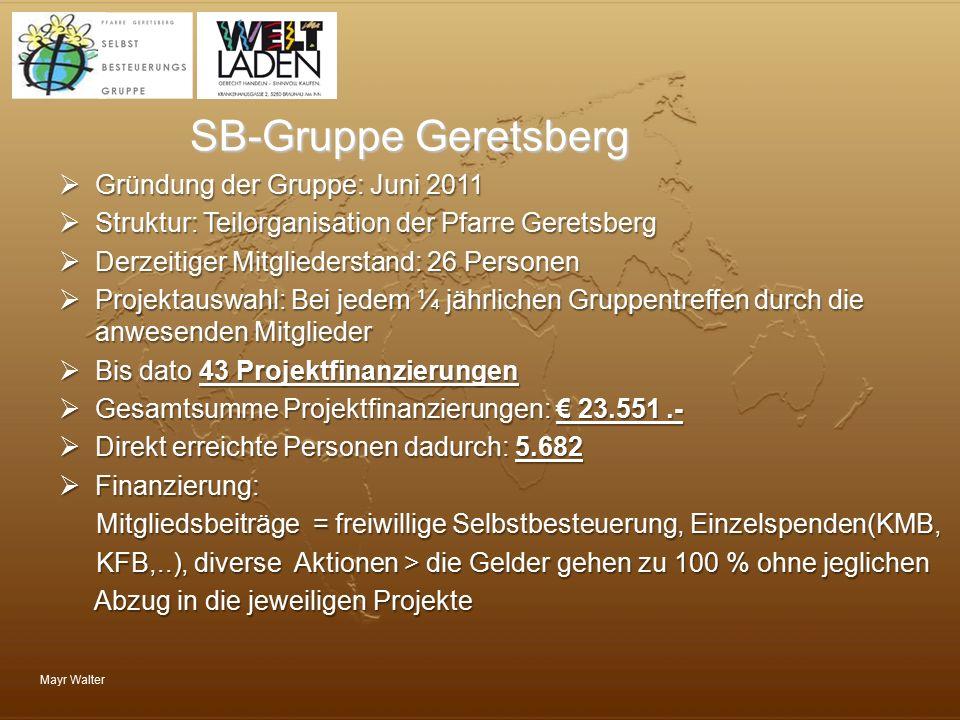 SB-Gruppe Geretsberg Gründung der Gruppe: Juni 2011