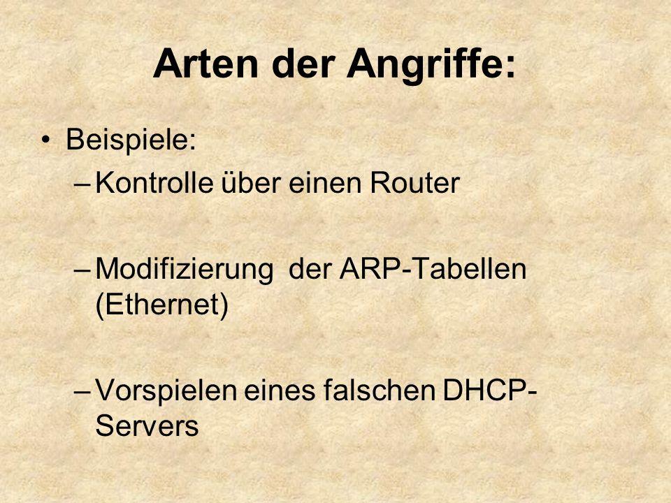 Arten der Angriffe: Beispiele: Kontrolle über einen Router