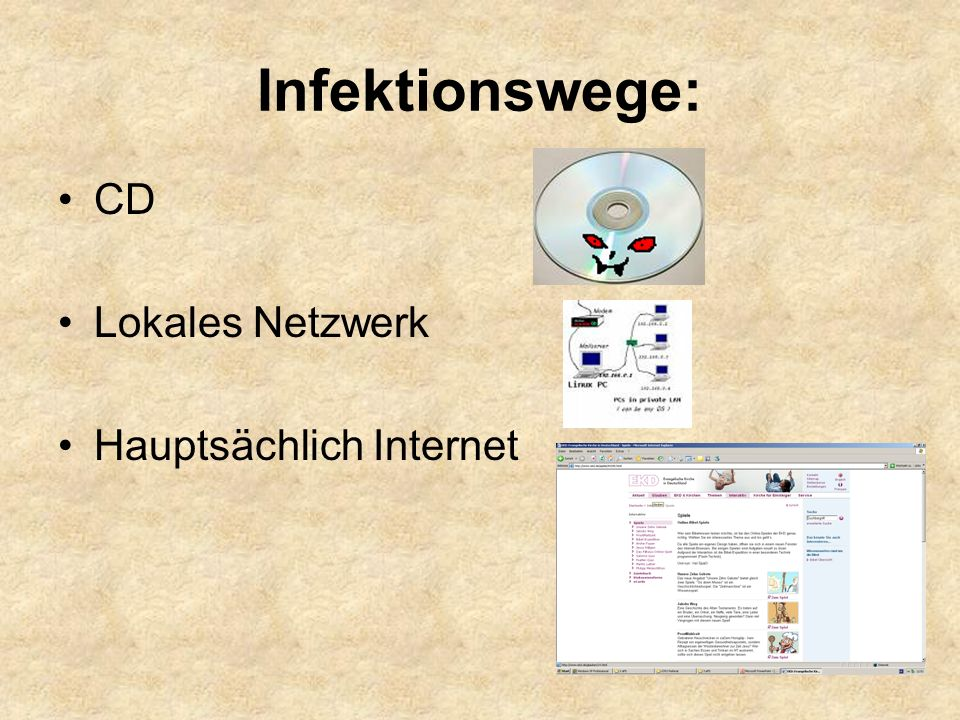Infektionswege: CD Lokales Netzwerk Hauptsächlich Internet
