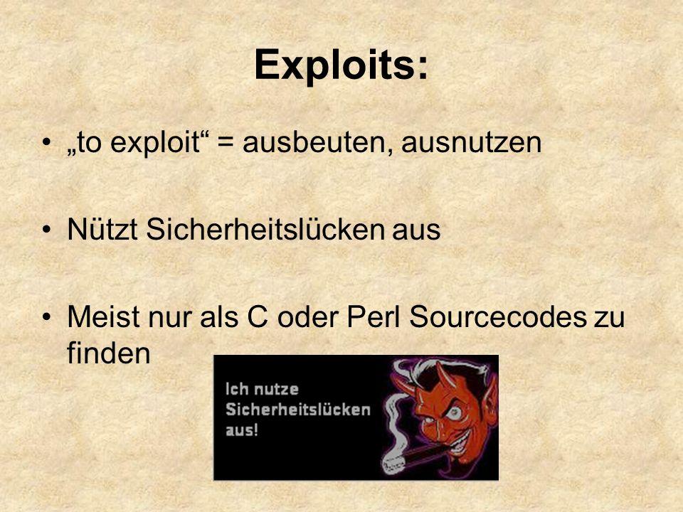 "Exploits: ""to exploit = ausbeuten, ausnutzen"