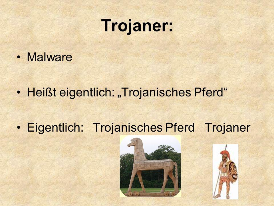 """Trojaner: Malware Heißt eigentlich: """"Trojanisches Pferd"""