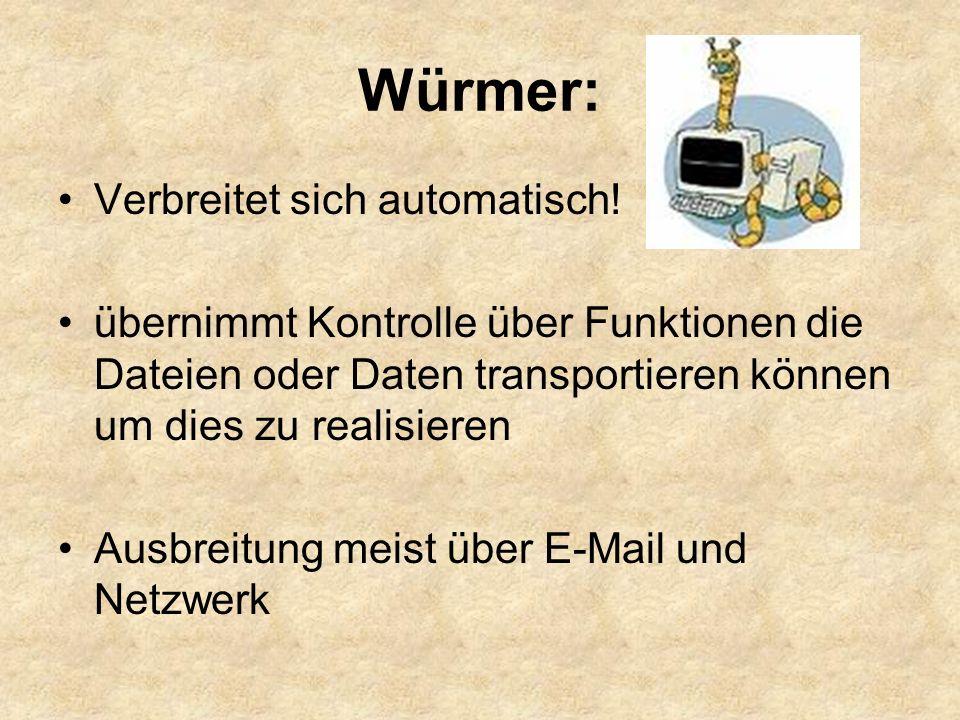 Würmer: Verbreitet sich automatisch!