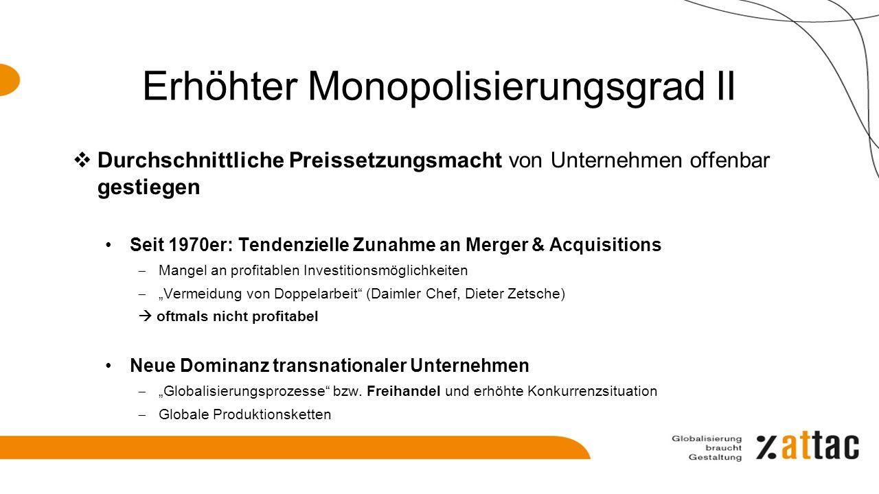 Erhöhter Monopolisierungsgrad II