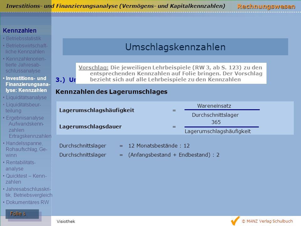 Umschlagskennzahlen Kennzahlen 3.) Umschlagskennzahlen