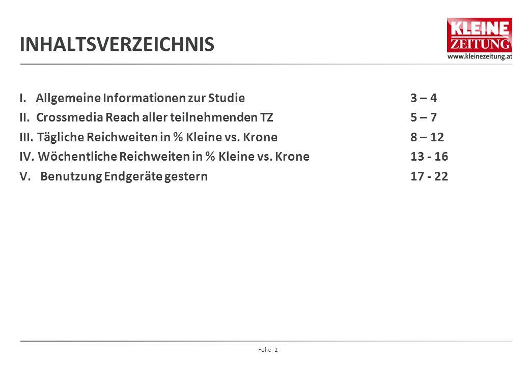 INHALTSVERZEICHNIS I. Allgemeine Informationen zur Studie 3 – 4