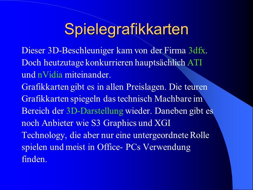 Spielegrafikkarten Dieser 3D-Beschleuniger kam von der Firma 3dfx.