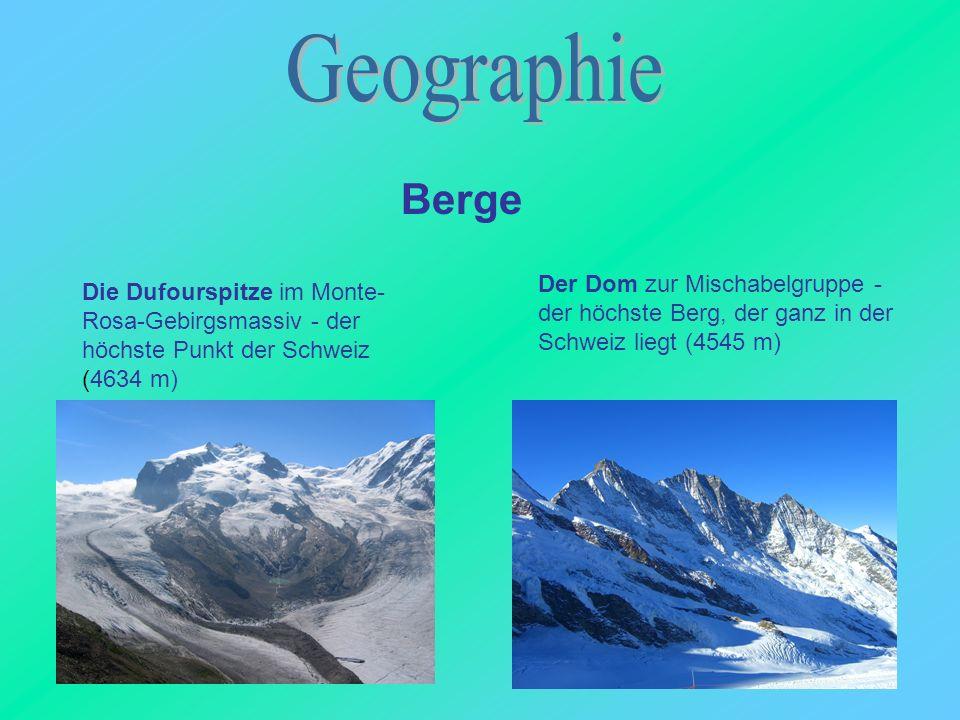 Geographie Berge. Der Dom zur Mischabelgruppe - der höchste Berg, der ganz in der Schweiz liegt (4545 m)