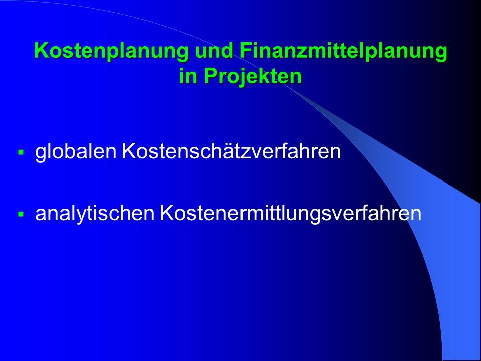 Kostenplanung und Finanzmittelplanung in Projekten
