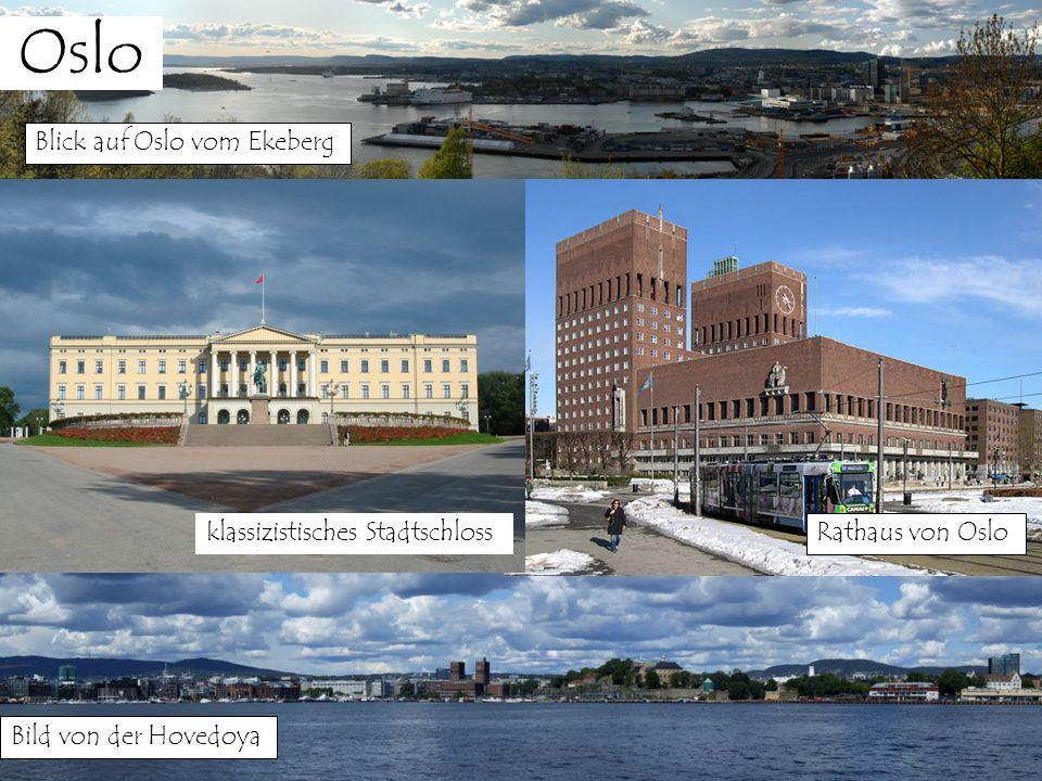 Oslo Blick auf Oslo vom Ekeberg klassizistisches Stadtschloss