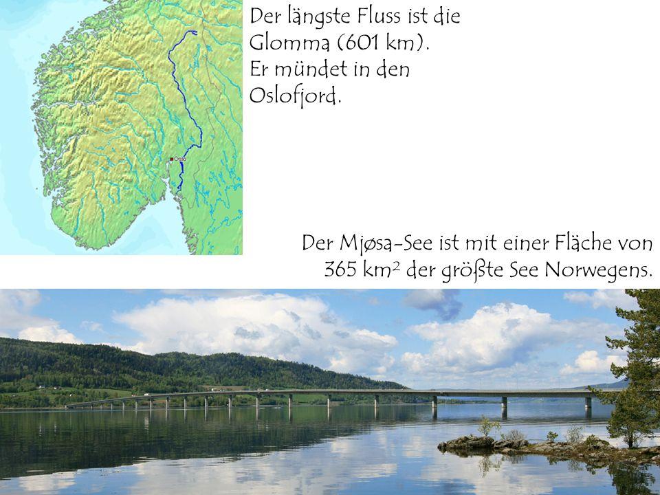 Der längste Fluss ist die Glomma (601 km).