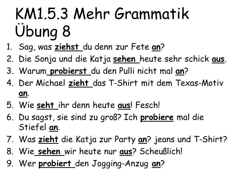KM1.5.3 Mehr Grammatik Übung 8