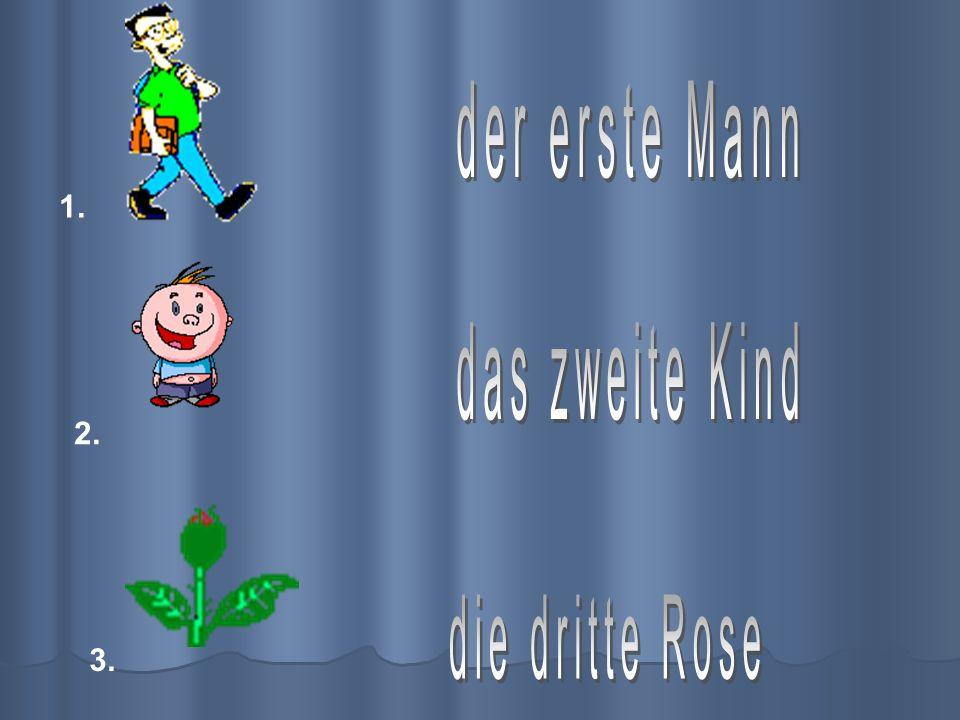 der erste Mann 1. das zweite Kind 2. die dritte Rose 3.