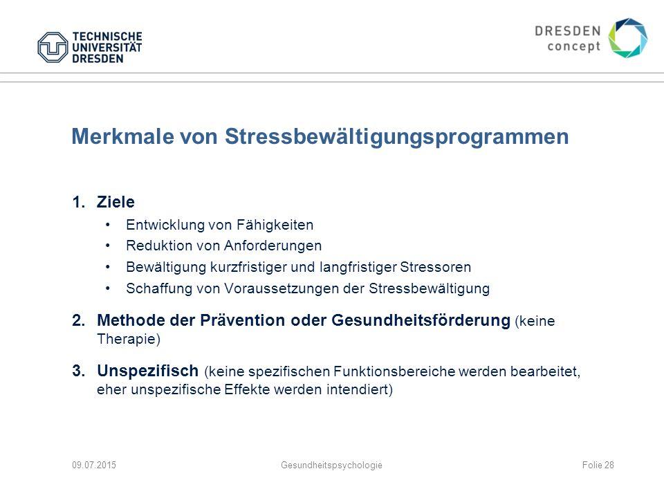 Merkmale von Stressbewältigungsprogrammen