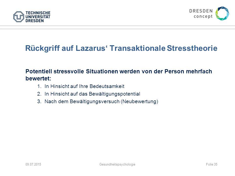 Rückgriff auf Lazarus' Transaktionale Stresstheorie