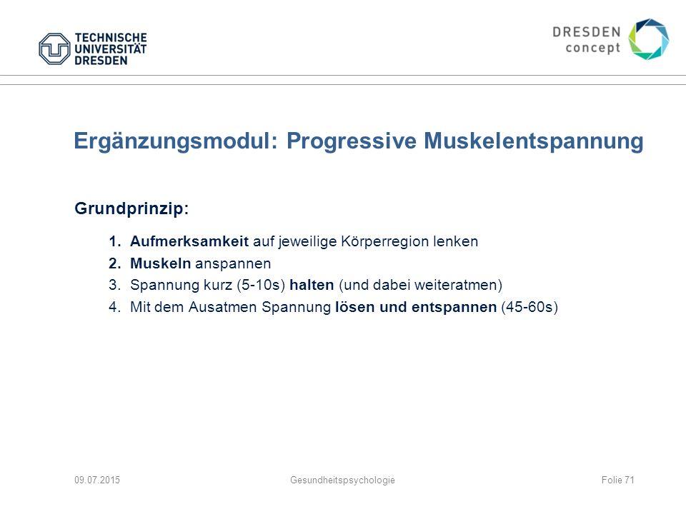 Ergänzungsmodul: Progressive Muskelentspannung