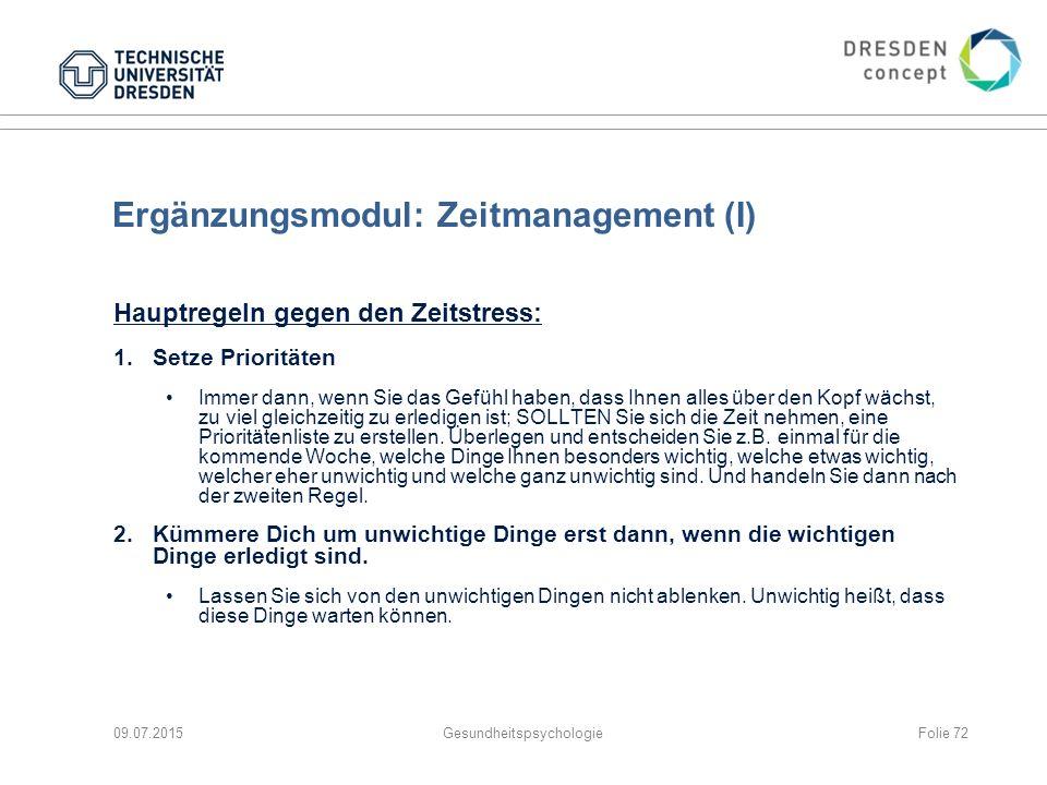 Ergänzungsmodul: Zeitmanagement (I)