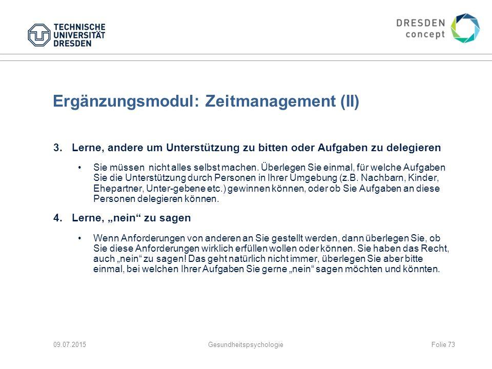 Ergänzungsmodul: Zeitmanagement (II)