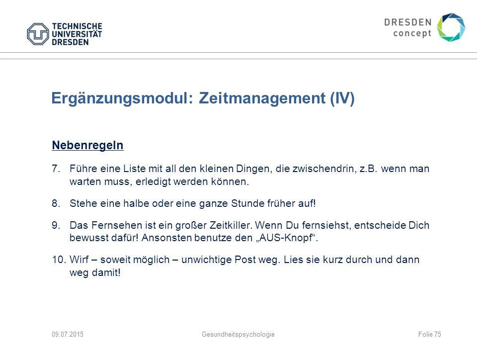 Ergänzungsmodul: Zeitmanagement (IV)