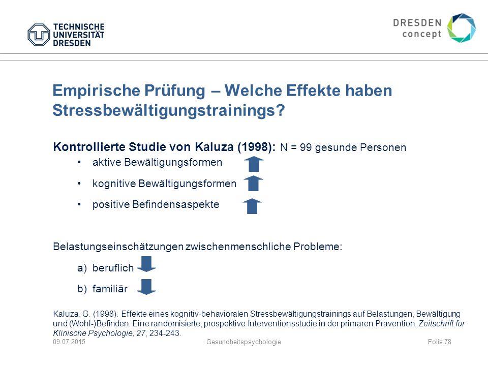 Empirische Prüfung – Welche Effekte haben Stressbewältigungstrainings