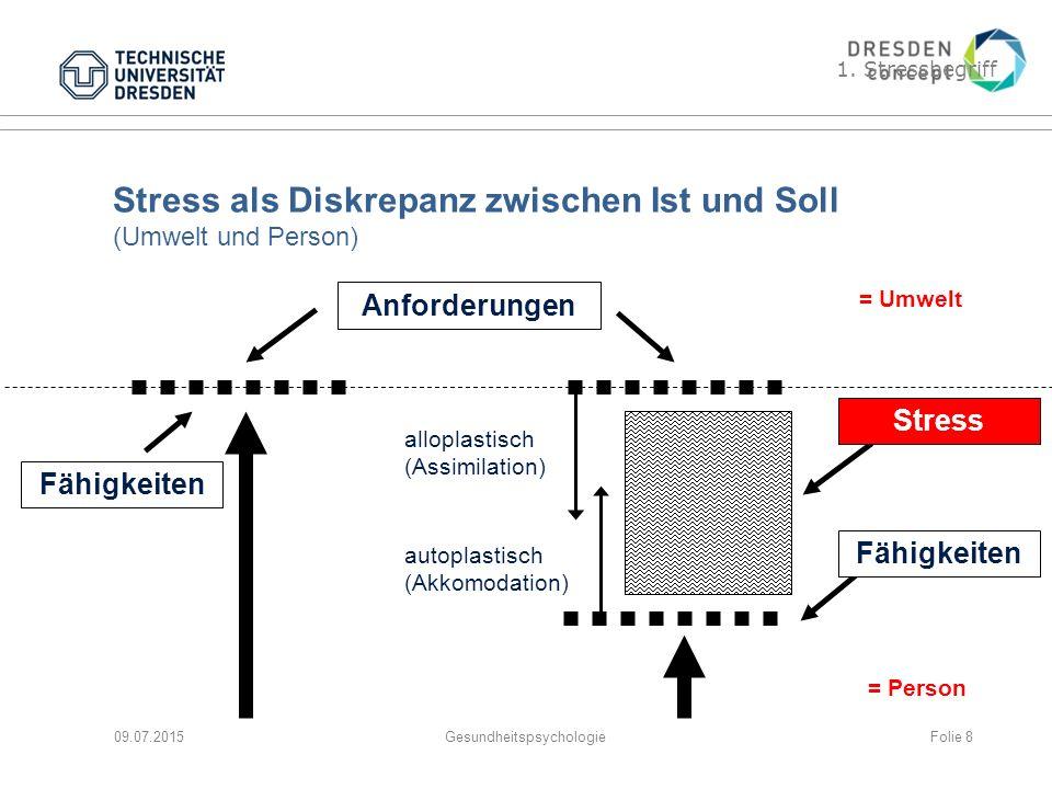 Stress als Diskrepanz zwischen Ist und Soll (Umwelt und Person)