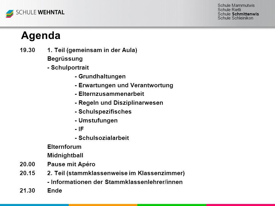 Agenda 19.30 1. Teil (gemeinsam in der Aula) Begrüssung
