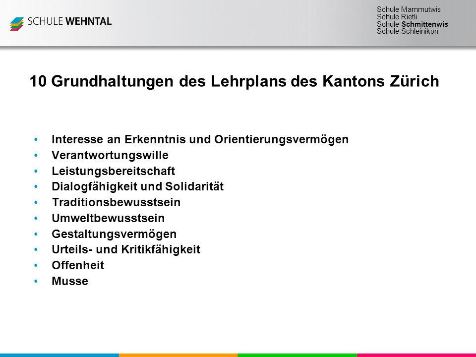 10 Grundhaltungen des Lehrplans des Kantons Zürich