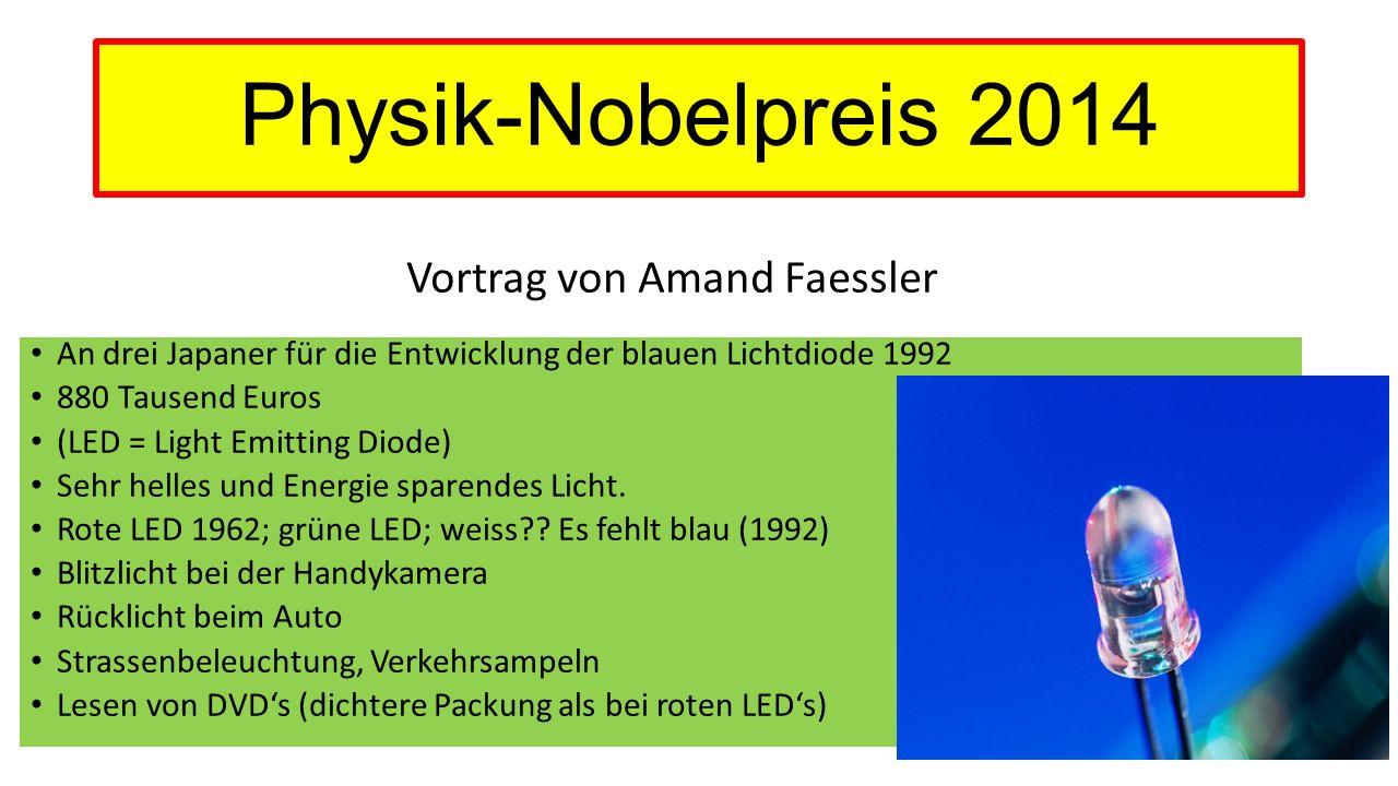 Physik-Nobelpreis 2014 Vortrag von Amand Faessler