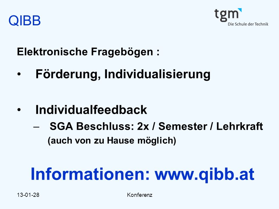 Informationen: www.qibb.at
