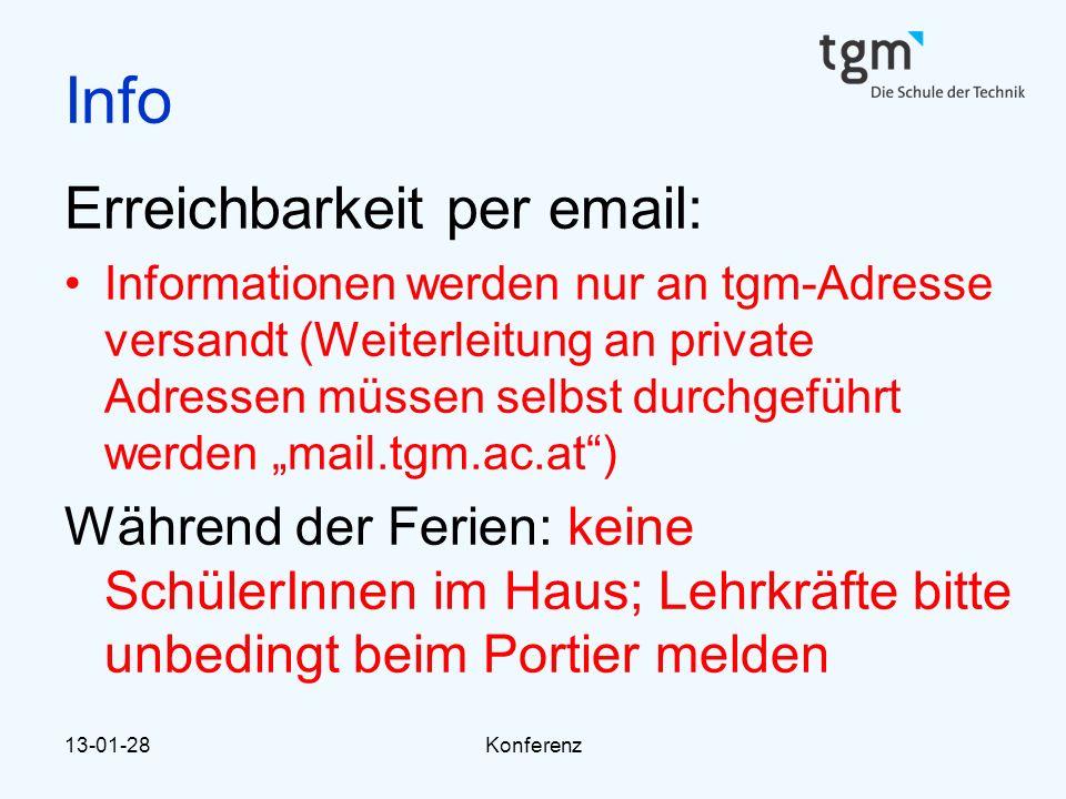 Info Erreichbarkeit per email: