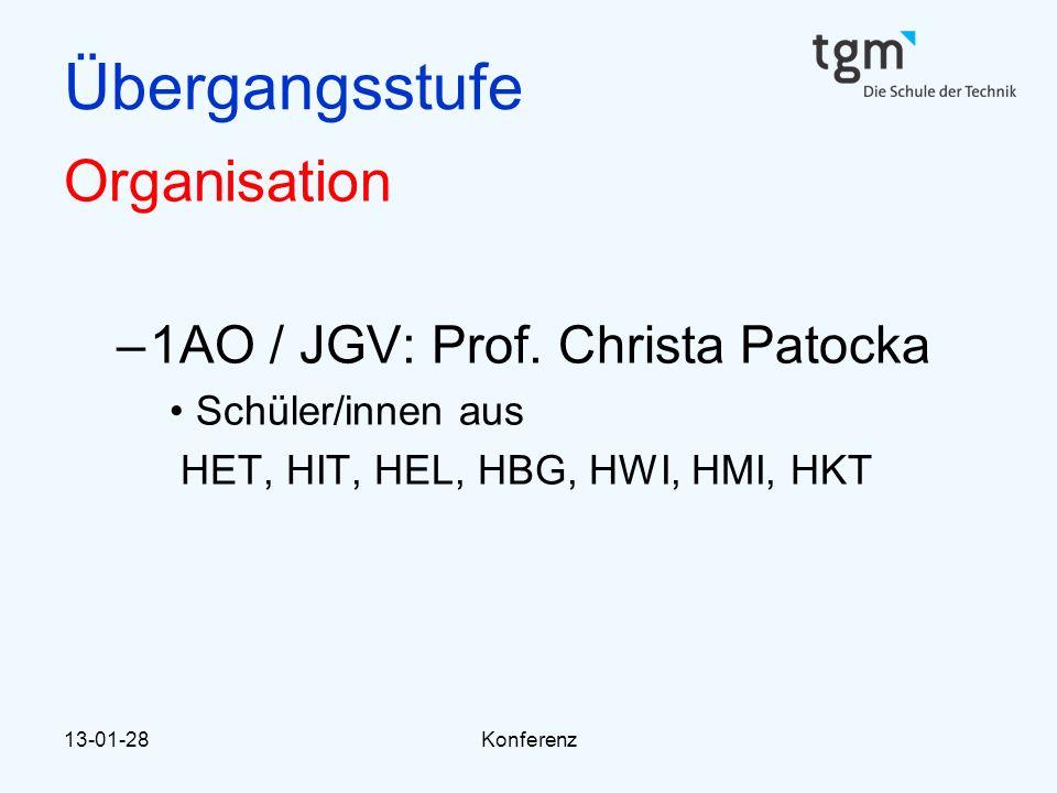 Übergangsstufe Organisation 1AO / JGV: Prof. Christa Patocka