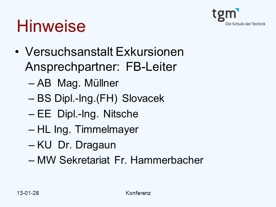 Hinweise Versuchsanstalt Exkursionen Ansprechpartner: FB-Leiter