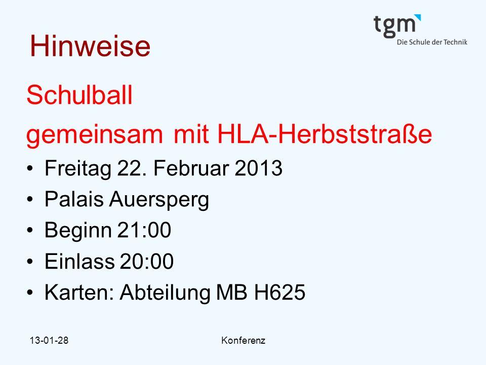 Hinweise Schulball gemeinsam mit HLA-Herbststraße