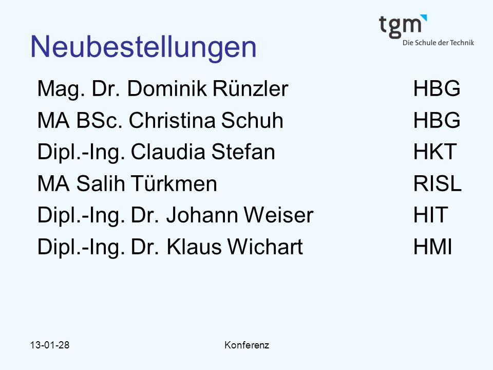 Neubestellungen Mag. Dr. Dominik Rünzler HBG