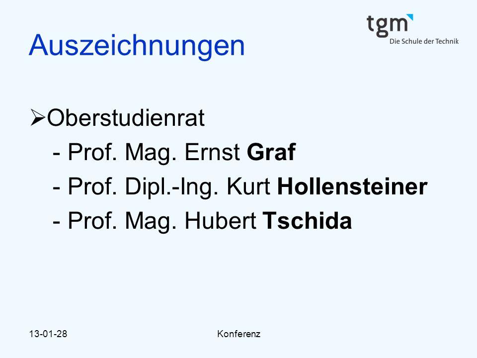 Auszeichnungen Oberstudienrat Prof. Mag. Ernst Graf