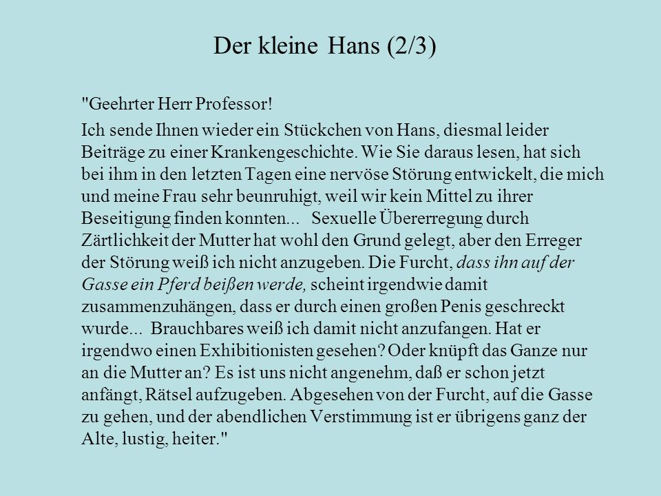 Der kleine Hans (2/3) Geehrter Herr Professor!
