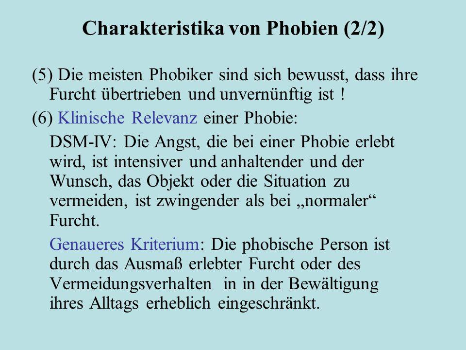 Charakteristika von Phobien (2/2)