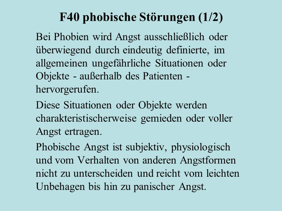 F40 phobische Störungen (1/2)