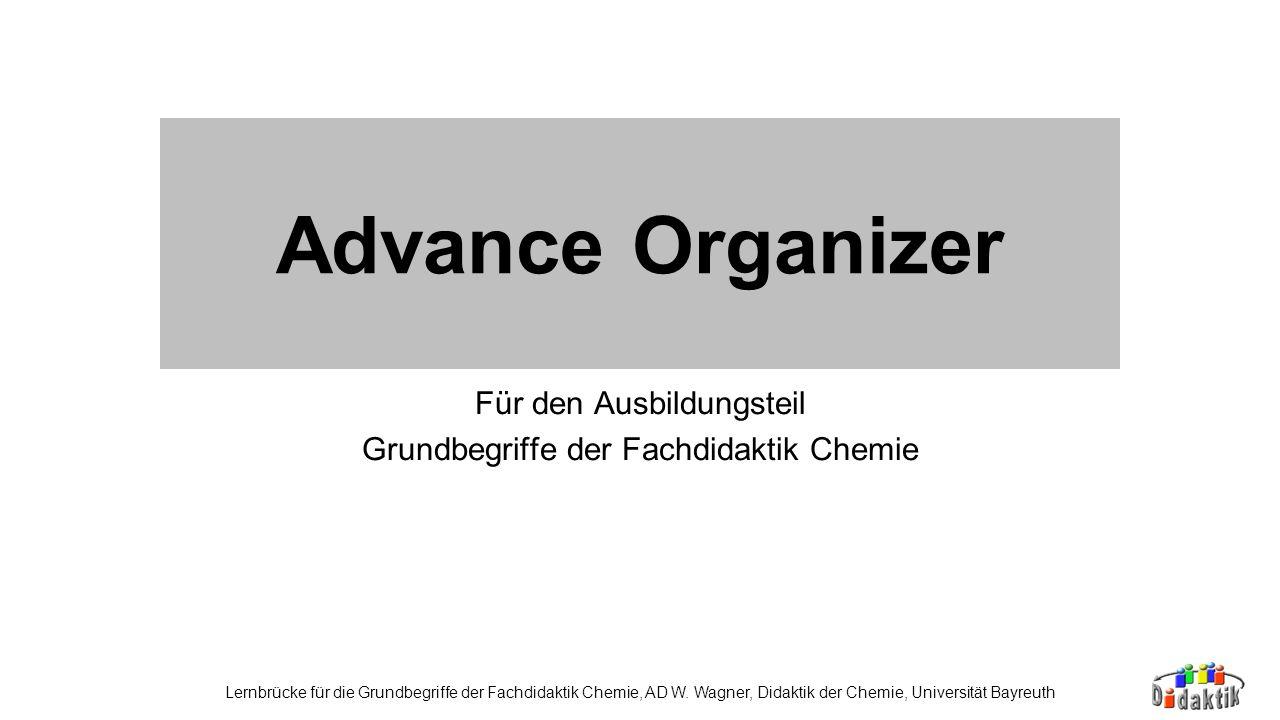 Für den Ausbildungsteil Grundbegriffe der Fachdidaktik Chemie