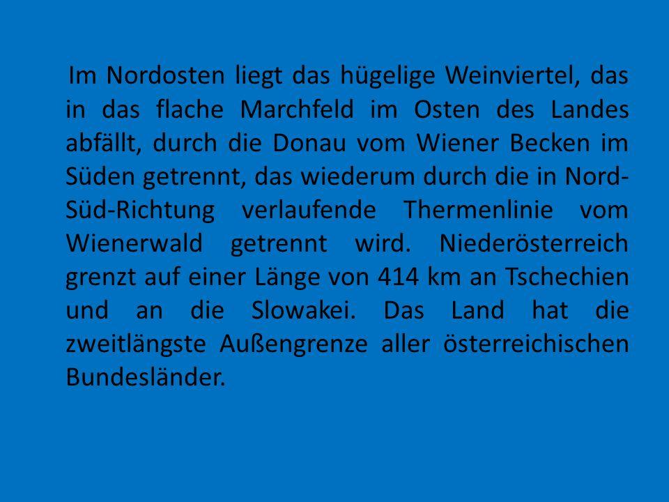 Im Nordosten liegt das hügelige Weinviertel, das in das flache Marchfeld im Osten des Landes abfällt, durch die Donau vom Wiener Becken im Süden getrennt, das wiederum durch die in Nord-Süd-Richtung verlaufende Thermenlinie vom Wienerwald getrennt wird.