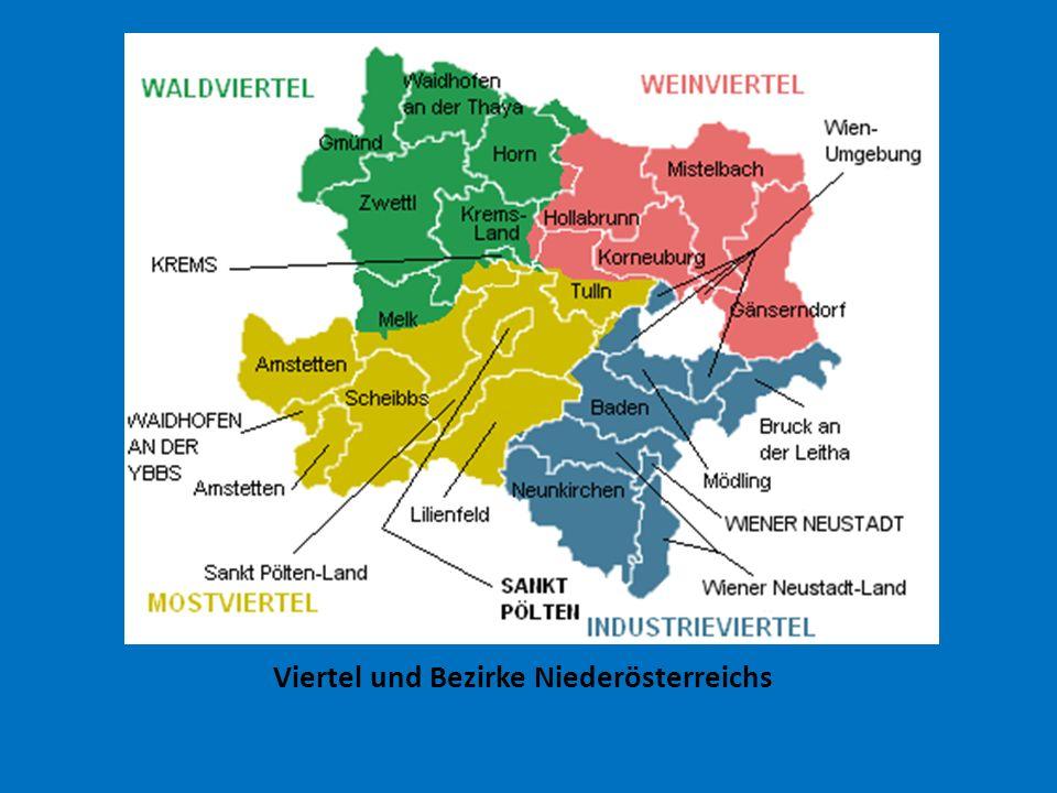 Viertel und Bezirke Niederösterreichs