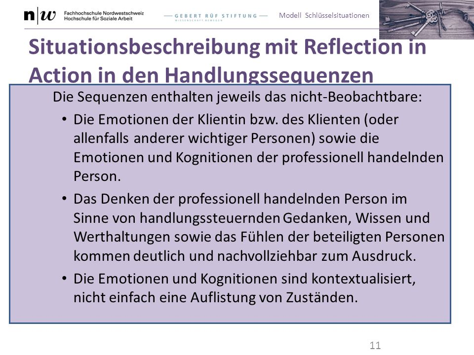 Situationsbeschreibung mit Reflection in Action in den Handlungssequenzen